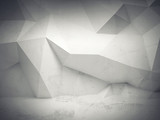 Abstract white concrete 3d interior with polygonal pattern