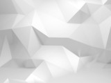 Abstract white 3d background with polygonal pattern poster