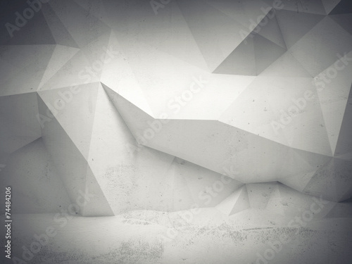 Abstract white concrete 3d interior with polygonal pattern © evannovostro