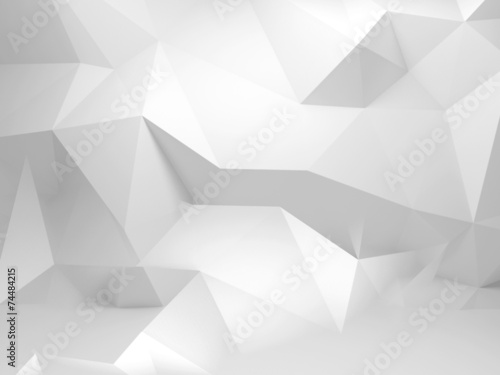 Abstrakcjonistyczny biały 3d tło z poligonalnym wzorem