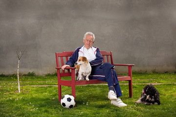 Old man with dogs