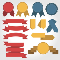 Flat Color Ribbons and Badges, vector
