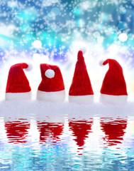 Weihnachtsmützen, Spiegelbild, Hintergrund, blau