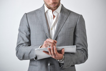 Man With Book Notes For Business