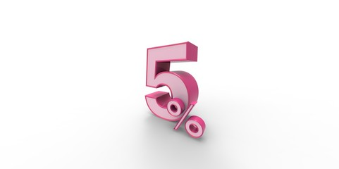 3D rendering of a pink and white 5 percent letter