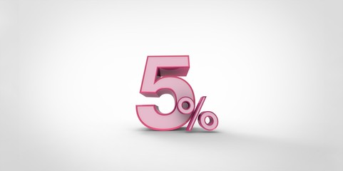 3D rendering of a pink and white 5 percent letters