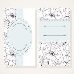 Business card set with poppies