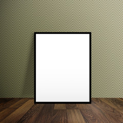 Blank poster stand on a wooden floor over modern wallpaper with