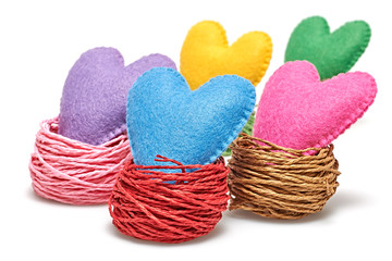 Valentine's Day. Handmade Hearts in nest. Love concept.