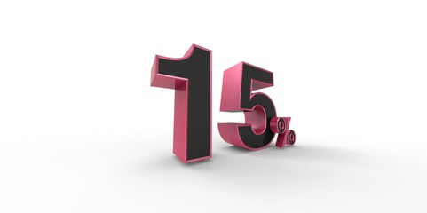 3D rendering of a pink and black 15 percent letters