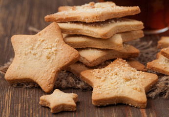 Christmas star cookies with tea