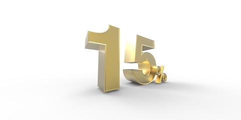 3D rendering of a gold 15 percent letters on a white background