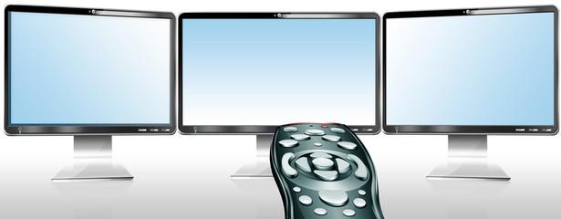 3 Monitore mit Fernbedienung vernetzt, freigestellt