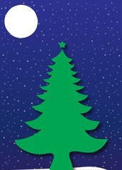 Merry Christmas - Tree under a starry night sky