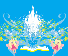 Magic world of tales, fairy castle appearing from the book