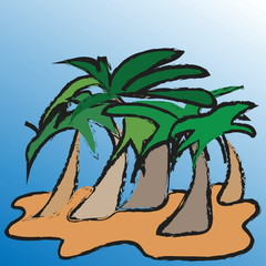 Illustration island with palm trees