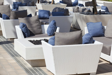 armchairs and table on terrace