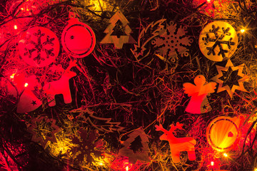 Christmas hay with toys and lights