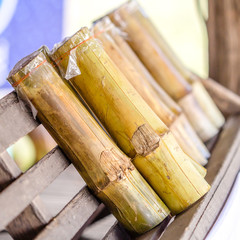 sweet glutinous rice roasted in bamboo