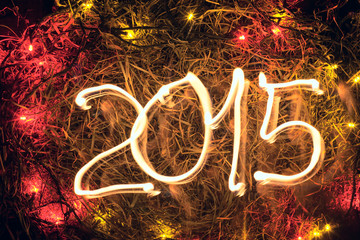 New Year 2015  hay with lights