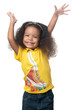 African american small girl raising her arms