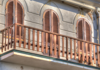 wooden railing in an old balcony