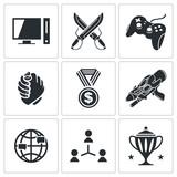 eSports icons set poster