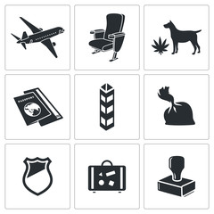 Drug trafficking icon set