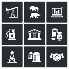 Oil and gas industry Vector Icons Set