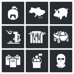 The energy crisis in Ukraine Vector Icons Set