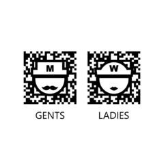 Toilet vector qr code sign