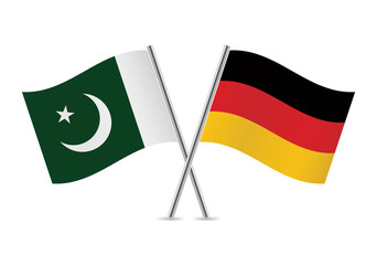 German and Pakistan flags. Vector illustration.