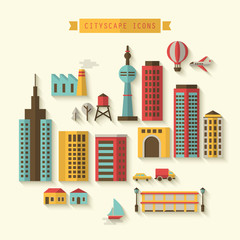 Cityscape flat modern icons design