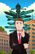 Confused businessman under a street sign with different directio
