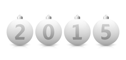 White Glass Christmas Balls - Year 2015