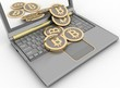 canvas print picture - Bitcoins on laptop. Conception of electronic earnings.