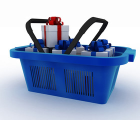 Blue plastic shopping basket with boxes of gifts.