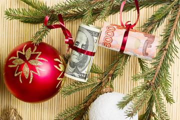 Money on spruce branch