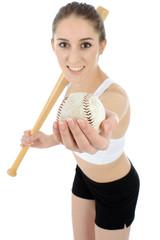 Frau mit Baseball und Baseballschläger