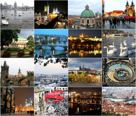 Landmarks of Prague in different seasons
