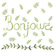 Bonjour french sign with nature leaf ornamen watercolor design