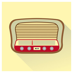 Vintage radio in wooden color.