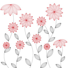Floral background - vector, red flower