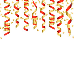 Festive background with gold and red shiny streamers and confett