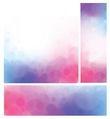 Vector bokeh backgrounds, pink and blue.
