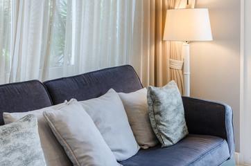 luxury blue sofa in living room