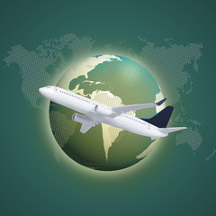 Airplane with World Map
