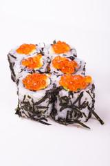 sushi roll in nori with caviar