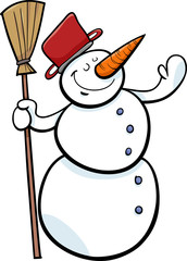 happy snowman cartoon illustration