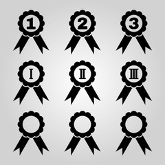Set of 9 black award icons.